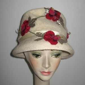 Vintage cream lampshade hat with roses